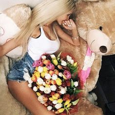 Woman with bouquet of flowers and Big Teddy Bear Teddy Girl, Big Teddy Bear, Happy Tea, Ft Tumblr, Daddy Bear, Every Girl, Girly Things, Sexy Dresses, Barbie