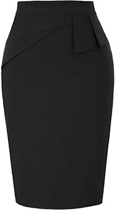 Women's Black Stretch Bodycon Midi Pencil Skirt Wear to Work S Black African Fashion Skirts, Office Outfits Women, Pencil Skirt Outfits, Skirt Patterns Sewing, Work Skirts, Classy Dress, Mode Style, Blazer Jackets For Women, Fashion Outfits