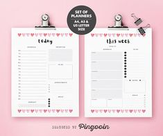 Daily & weekly printable planners. Daily planner. Weekly