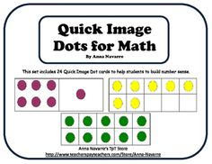 Quick Image Dots help students to develop number sense. Using the dots provides the opportunity for discussion as students begin seeing the number of dots on a card without having to count them.