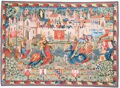 Le Tournoi de Camelot tapestry is a medieval tapestry showing the joust or the tournaments so popular in castle life in the middle ages. This wall decor shows a glimpse into life in the medieval period. Hanging Art, Tapestry Wall Hanging, Green Knight, Medieval Tapestry, Medieval World, Medieval Art, French Walls, Museum, Anglo Saxon