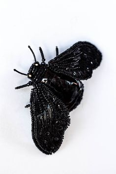"Unique Brooch ""Black Insect Nero""  Embroidered brooch"