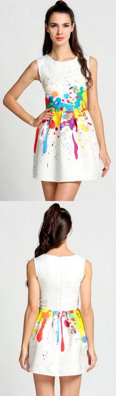 Product Description: Fashion Women O-Neck Print Slim Sundress Sleeveless A-Line Short Dress. Material: Polyester, Color: White, Design: A-Line Dress, Season: Summer, Autumn, Collar: O-Neck, Sleeve: Sl