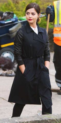 Clara Oswald Doctor Who Double Breasted Leather Sleeves Coat