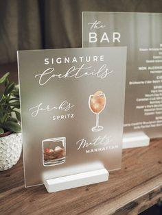 "Signature Cocktail Acrylic Sign with Drink Illustrations "" Wedding Goals, Diy Wedding, Wedding Planning, Dream Wedding, Wedding Day, Modern Wedding Ideas, Wedding Hacks, Bar Wedding Ideas, Wedding Bar Signs"