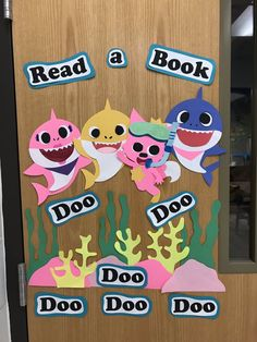 """Image only - Baby Shark """"Read a book"""" display / door decoration School Library Decor, School Library Displays, Middle School Libraries, Elementary School Library, Library Decorations, School Decorations, Library Signs, Library Posters, Library Boards"""