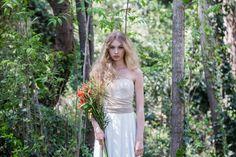 Golden lace Bridal dress romantic bridal gown lace by mimetik