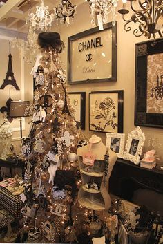 Black and White Christmas inspired by Paris decor