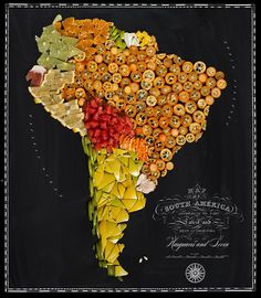 Beautiful maps of countries made food 03/16/14. Henry Hargreaves worked with the New York stylist Caitlin Levin to create great food all made maps.. Typography, done by graphic designer Sarit Melmed, giving maps a classic vintage look