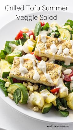 A simply delicious salad full of the summer's bounty of veggies and scrumptious grilled tofu dressed in lemony tahini sauce. This Grilled Tofu Summer Veggie Salad comes together quickly and is perfect for summer gatherings. Tofu Recipes, My Recipes, Yellow Squash And Zucchini, Grilled Tofu, Happy Vegan, Vegan Grilling, Tahini Sauce, Kid Friendly Meals, Summer Salads