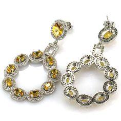Hi End Golden Citrine Gemstone Drop Earrings 2 AAA White CZ Weimaraner Rescue   #Unbranded #DropDangle