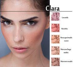 O blush ideal para pele clara é o de tom bege rosado ou terroso bem suave, mais puxado para o pêssego. Essas tonalidades ressaltam o rosto, disfarçando o rosado natural da pele.