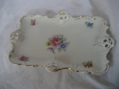 VINTAGE White Porcelain Flower RC Bavarian Calling Card by abandc, $9.95