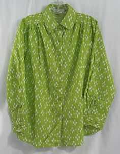 Women's Button Down Big Shirt in Lime Green and White in 10/12W #Roman #ButtonDownShirt