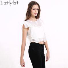 Women chiffon blouse summer white elegant women tops Fashion plus size sexy mesh Ruffles short Ladies shirt blouses