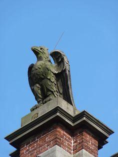Beeld van een adelaar gemaakt door Egidius Everaerts op de gevel van Huis Heyendaal.