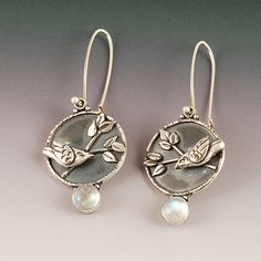Full Moon Earrings | ©2012 Vickie Hallmark |  fine silver birds and leaves fused to Argentium sheet and wire  moonstones