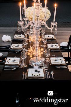 Wedding Table Centerpieces Lights Sophisticated Bride Ideas For 2019 Parisian Wedding Theme, Black And White Wedding Theme, Parisian Party, Paris Theme, Parisian Style, White Wedding Decorations, Wedding Table Centerpieces, Wedding Candelabra, Centrepieces