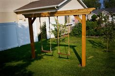 Pergola swing - I would probably just create the swing hooks at the top and buy a standard baby and adult swing to attach, instead of building a rope swing like this lady.