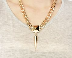 Raina Chain Link Stud & Spike Necklace