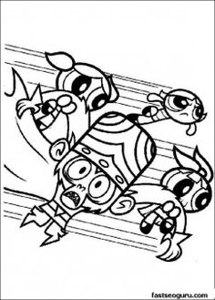 Powerpuff Girls Bubbles Blossom Buttercup and Mojo Jojo - Printable Coloring Pages For Kids