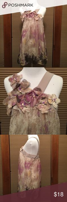 Luluvia Halter Top- artsy & unique! 100% Polyester. Gorgeous detailing at bodice. Lovely array of colors: golds, taupes, lavender, cream, black. Tag reads Medium, mannequin size small 2-4. Luluvia Tops Blouses