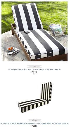 PotteryBarn Black & White Striped Chaise Cushion ($319)  - vs - HomeDecorators MarthaStewartLiving Lake Adela Chaise Cusion ($189)