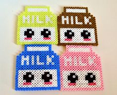 Kawaii Milk Carton Perler Bead Sprite Coaster Set via Etsy