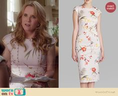 Kathryn's floral cap sleeve dress on Switched at Birth.  Outfit Details: http://wornontv.net/36290/ #SwitchedatBirth