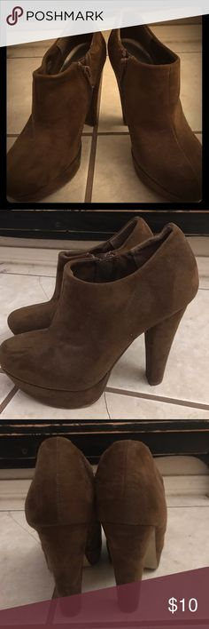 Booties Soft Suedeish leather.  That's a word, right!  Super cute heels. Can be casual or dressy! Shoes Heels