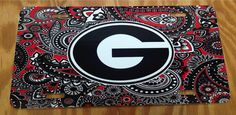 UGA Georgia bulldogs red black paisley metal car tag by KACExpress