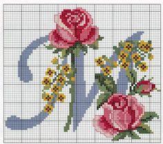Punto croce - Schemi e Ricami gratuiti: Schema a punto croce- alfabeto con le rose