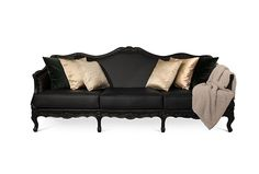 OTTAWA Sofa, @BRABBU, Fabric: black synthetic leather, Legs: black lacquer, matte varnish Nails: polished nickel, nature inspiration