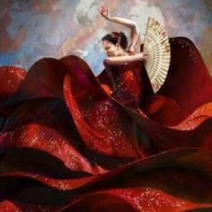 Stunning Red Flamenco Dancer