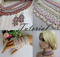 Pattern Crochet Necklace  Bracelet Cuff Earrings  Tutorial Ethnic Textile Jewelry Crochet Video Pattern PDF Jewelry Boho