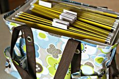Genius! 31 tote with file holder to organize school stuff!