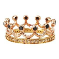 """Bochic """"""""Kingdom"""""""" 18K Rose Gold Diamond Crown Ring ($2,450) ❤ liked on Polyvore featuring jewelry, rings, accessories, champagne ring, 18 karat gold ring, rose crown, diamond crown ring and pink rose gold ring"""