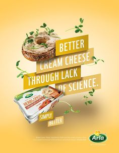 poster and digital campaign introducing Arla cream and sliced cheese to the US market. Food Graphic Design, Food Poster Design, Ad Design, Graphic Design Inspiration, Flyer Design, Design Ideas, Exhibit Design, Booth Design, Food Advertising