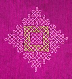 Designed and hand-needle embroidered by Irula Tribal emboiderers in Tamilnadu South India Indian Rangoli Designs, Rangoli Designs Latest, Small Rangoli Design, Rangoli Designs Images, Rangoli Designs With Dots, Rangoli With Dots, Beautiful Rangoli Designs, Simple Rangoli, Hand Work Embroidery