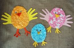 Tissue Paper Chicks--Use cut outs of the child's hands for the wings