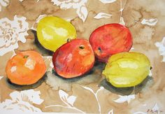 Still Life Painting of Fruit in Watercolour