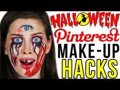 BEAUTY HACKS für HALLOWEEN von PINTEREST! KRASSESTE LAST MINUTE MAKE UPS LIVE TEST | DEUTSCH - YouTube