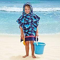 image of Kids' Shark Velour Hooded Towel in Light Blue/Navy