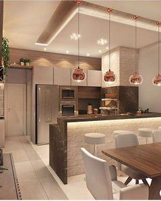 🥰 Projeto AT Arquitetura… Cozinha gourmet lindíssimaa! 😱🥰 Projeto AT Arquitetura Source Open Plan Kitchen Living Room, Kitchen Room Design, Luxury Kitchen Design, Diy Kitchen Decor, Modern House Design, Interior Design Kitchen, Kitchen Dinning, Kitchen Ideas, Dining Room