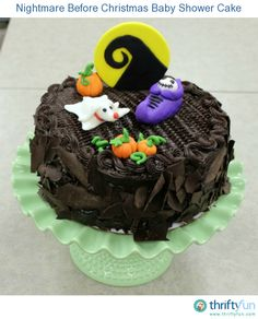 This guide contains Nightmare Before Christmas baby shower cake. A Tim Burton's animated classic can make a fun cake for a baby shower.