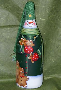 Ginger Snowman Bottle painted bottles, snowman bottl, wine bottles, paint bottl