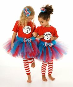 thing1 and thing2 halloween idea! add a fluffy blue hat and you're golden!