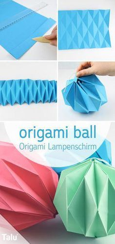 Fold origami lamp - make lampshade out of paper-Origami Lampe falten – Lampenschirm aus Papier basteln Free instructions – fold origami lampshade – origami ball – Talu. Origami Ball, Origami Rose, Origami Star Box, Origami Flowers, Origami Hearts, Dollar Origami, Origami Folding, Paper Folding, Heart Origami