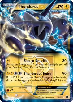 1 X Thundurus Ex Plasma Freeze Pokemon Card Rare Pokemon Tcg Cards, Cool Pokemon Cards, Pokemon Trading Card, Trading Cards, Mega Pokemon, Black Pokemon, Type Pokemon, Pokemon Go Cheats, Pokemon Room