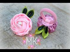 DIY. Rose.Троянда. Резинка для волосся.(Канзаші.MK) - YouTube